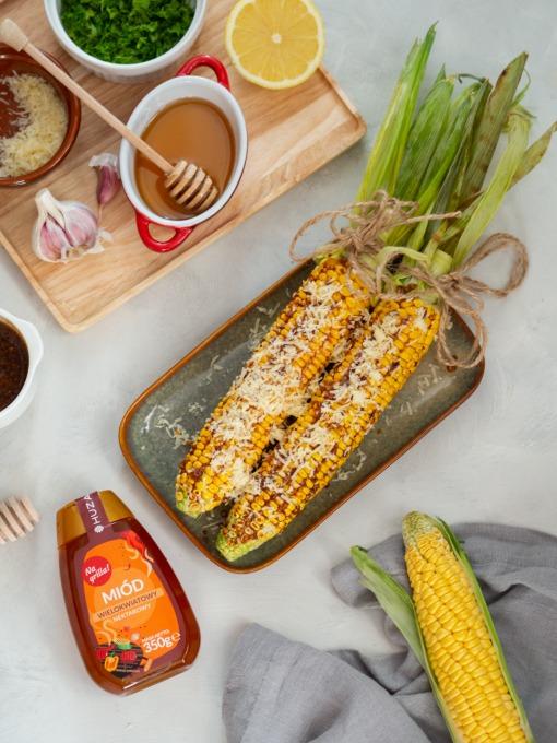 Grillowana kukurydza w miodowej glazurze